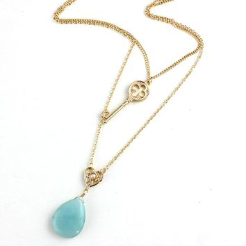 Szelam Stone Stone Water Drop Pendant Necklace Women 2017 Gold Chain Key Necklaces Choker Jewelry Collares SNE160069