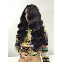Purple Black Swiss lace front wig 20"