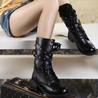 Womens Lace Up Combat Punk Martin Boot Mid Calf Ankle Boots = 1704367300