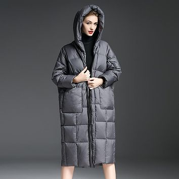 2016 New Women's Large Size Cocoon Quilt Down Jacket Down Coat  Bread X-long Hooded Plus Size Jacket