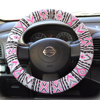Steering wheel cover wheel car accessories Aztec Neon Pink Steering Wheel Cover