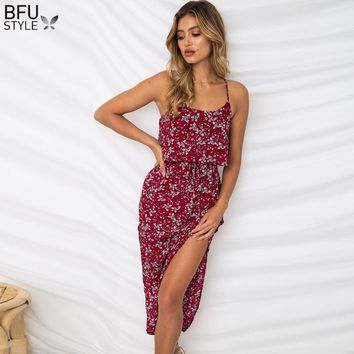 Backless Floral Print Summer Dress Sexy Women Boho Beach Split Midi Dress Sleeveless Red Blue Yellow Dresses Prom Party Vestidos