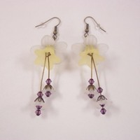White yellow lucite trumpet flowers earrings amethyst crystal bicones