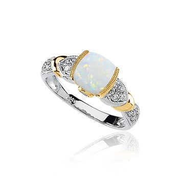 Opal Cabochon, Tanzanite, 1/6 Ctw Diamond & 14K Two-Tone Gold Ring