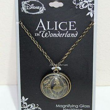 Licensed cool Disney Alice in Wonderland Dome Magnifying Glass Filigree Pendant Necklace NWT
