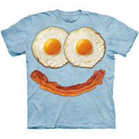 Bacon and EGG FACE The Mountain Funny Smiley Big Breakfast Costume T-Shirt S-3XL