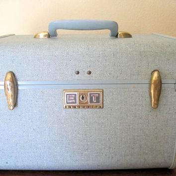 Mid Century Train Case Luggage Blue Samsonite Fabric Lined Storage