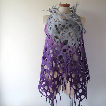 Felted vest, Wool Reversible vest,  Purple grey vest one of a kind vest , Lace women vest , women wool vest lace scarf , women felted vest