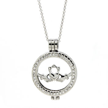 Classic Silver Irish Claddagh Coin Pendant And Necklace With Austrian Crystals