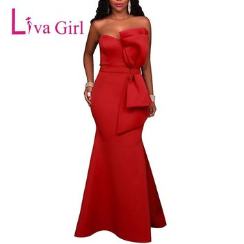 LIVA GIRL Sexy Off Shoulder Backless Evening Party Maxi Dress Women Strapless Bow Formal Long Dresses Red Vestido Robe De Soiree