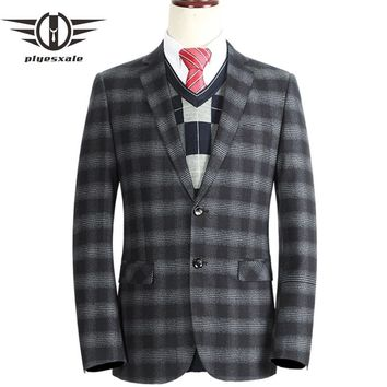 Gray Red Plaid Blazers For Men Autumn Slim Fit Business Formal Blazer Jackets Two Buttons Casual Suit