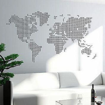 Wall Art Map Atlas Travel Trip Vinyl Sticker For Living Room Unique Gift (z2822)