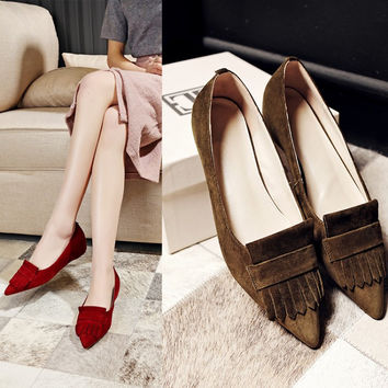 Summer Leather With Heel Height Increase Pointed Toe Tassels Shoes [4919953732]
