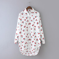 Cherry Print Asymmetrical Long-Sleeve Button Collared Blouse
