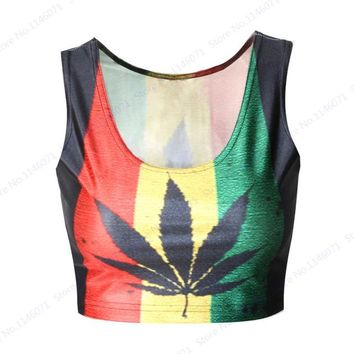 Running Vests Jogging South Africa Contrast Color  Tube Top Black Maple Leaves Fitness Crop Top Red Yellow Stripe Green Women's Blouses KO_11_1