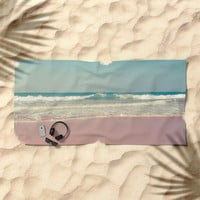 Sea waves 5 Beach Towel by vanessagf