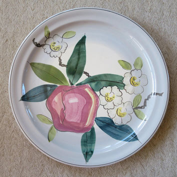 Red Wing Pottery Normandy Apple Pattern Charger MidCentury Hand Painted Dinnerware  14 inch Platter 1940-1950 Made in USA Apple Platter