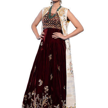 Jeweled Burgundy Velvet Bridal Dress/With Embroidery Duster