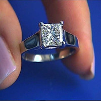1.14ct Princess Cut Diamond Engagement Ring G-SI1  JEWELFORME BLUE EGL certified