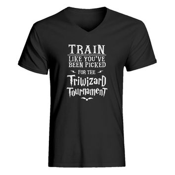 Mens Train for Triwizard Tournament Vneck T-shirt