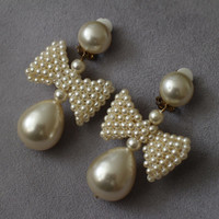 Vintage 70s Wedding Huge Dangle Pearl and Pearl Bow Clip on Earrings, Bridal Party
