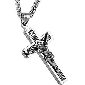 """SHIP BY USPS:  Catholic Jesus Christ on INRI Cross Crucifix stainless steel Pendant Necklace 24"""" Chain"""