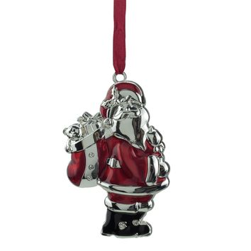 "3.25"" Regal Shiny Silver and Red Plated Santa Claus Ornament with European Crystals"