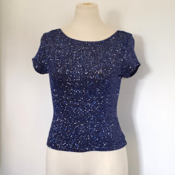 VINTAGE Women's Navy Blue GLITTER Blouse Top USA Made Scoop Back - J.R. Nites - Size S