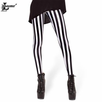 Gothic Fitness Women Punk Shaping Slim Sexy Black and White Striped Vertical Printed Leggings