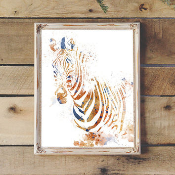 Zebra Watercolor Brown & Blue Printable Safari Nursery Travel Nursery Print Kid's Room Wall Art Instant Download 8x10 11x14