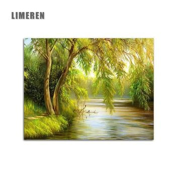 Spring Willow River Picture DIY Coloring By Numbers Kits Digital Oil Painting By Numbers On Canvas For Living Room Wall Art