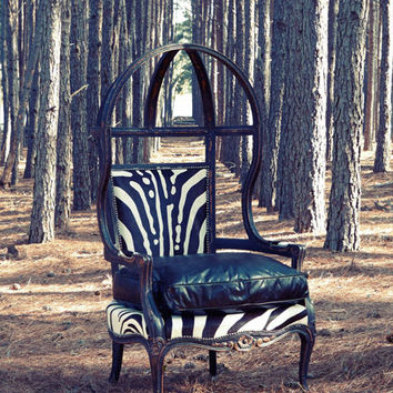 Old Hickory Tannery Zebra Balloon Chair