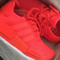 Adidas NMD Popular Women Men Leisure Pure Color Running Sports Shoes Sneakers Pure Red I