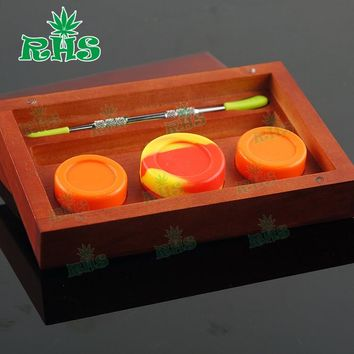 10pcs Wood Box BHO Silicone Storage Container Set with Dab Concentrate Wax Oil Jar and Dabber Tool 10pcs Free Ship by DHL
