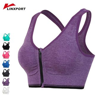 Zipper Women Sports Bra Professional Absorb Sweat Tops Athletic Vest Running Gym Fitness Bras High Impact Support Workout Tights