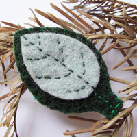 Felt leaf brooch, green pin, spring-like