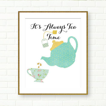 Printable Typography, Kitchen Art, Tea Time, Aqua Gold, Teal, Retro, Gold Foil Print, INSTANT DOWNLOAD, Kitchen Decor, Typography Print