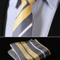 "TS4019Y7 Yellow Gray Skinny Stripes 2.75"" 100%Silk Woven Slim Skinny Narrow Men Tie Necktie Handkerchief Pocket Square Suit Set"