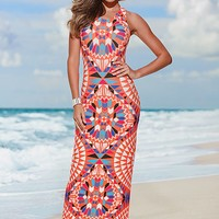 ORANGE MULTI Printed maxi dress from VENUS