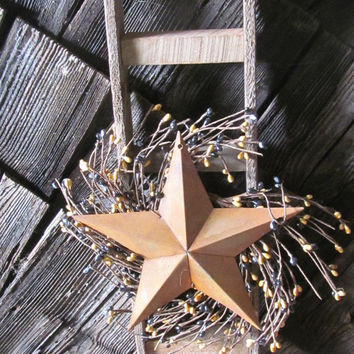 Primitive Ladder Rusty Star  Tobacco Lath Barnboard Ladder Wall Decor Prim Wooden Ladder Mustard Pipberry Wreath