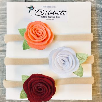 Felt Rose Baby Headband - Coral, White, & Maroon - 3 Pack