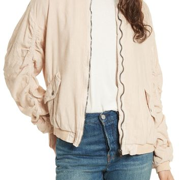 Free People Ruched Linen Bomber Jacket | Nordstrom