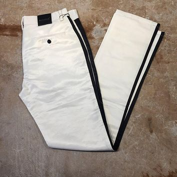Barabas Straight Leg White Striped Trousers
