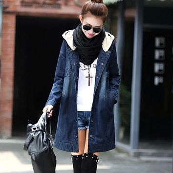 Long Jean jacket 2017 Fashion Autumn Women's Clothing Single Breasted coat Denim Jacket Long Loose Women Jacket Plus size 4XL