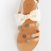 Leather Sandals, Ivory Sandals, Bow Sandals,Beige Sandals, Boho Sandals, Coin Sandals, Strappy Sandals, Summer shoes