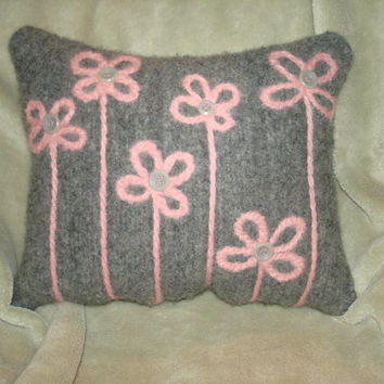 Small Decorative Pillow Grey Pink Flowers Buttons Reclaimed Wool Sweater Needle Felted