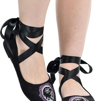 "Women's ""Cameo Skull"" Ballerina Flats by Too Fast (Black)"