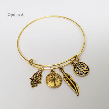 Your Golden Charms Bangle Bracelet