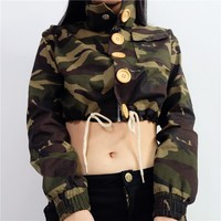 Sports On Sale Hot Deal Jacket Winter Women's Fashion Camouflage Zippers Crop Top Baseball [256904331290]