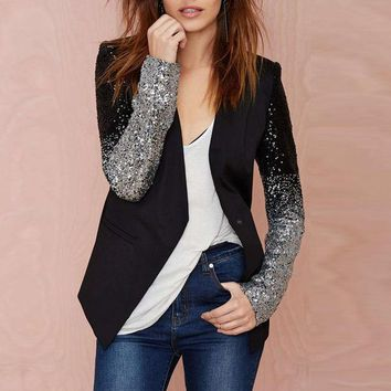 PEAPGB2 Women Thin Jacket Coat 2016 Spring Autumn Long Sleeve Lapel Fashion Silver Black Sequin Elegant Slim Work Blazers Suit feminino